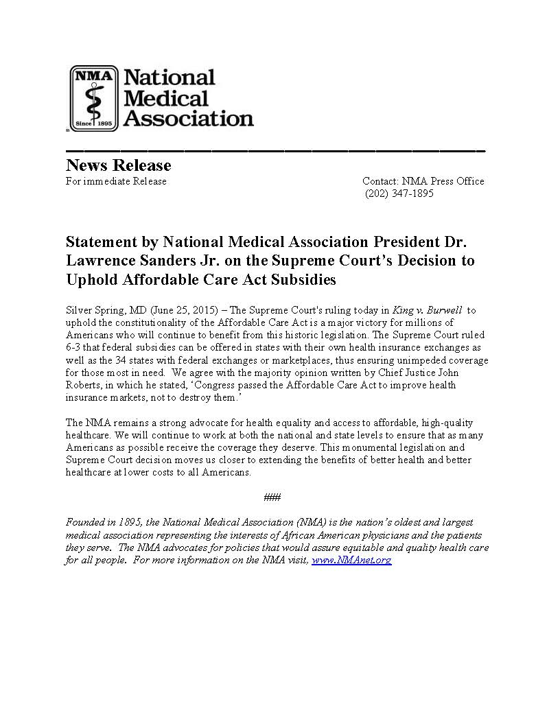 NMA supports SCOTUS decision to uphold ACA subsidies