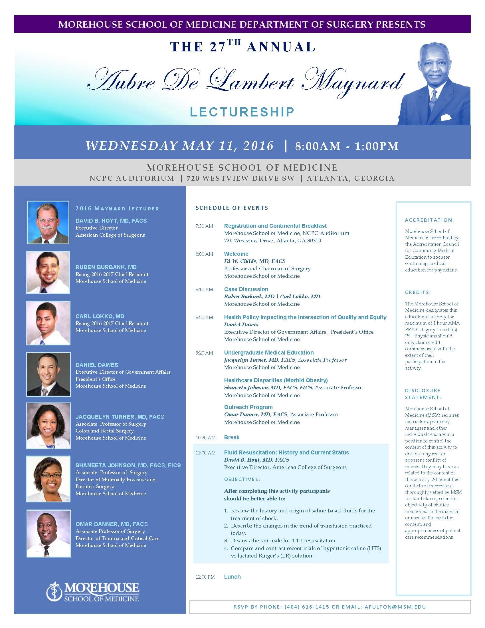 """Fluid Resuscitation"" Topic of 27th Annual Aubre de Lambert Maynard Lectureship"