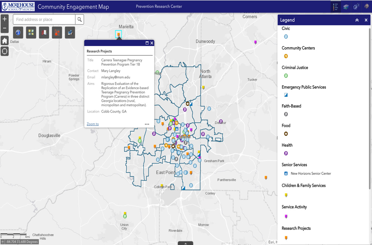 An example screenshot showing the GIS data available