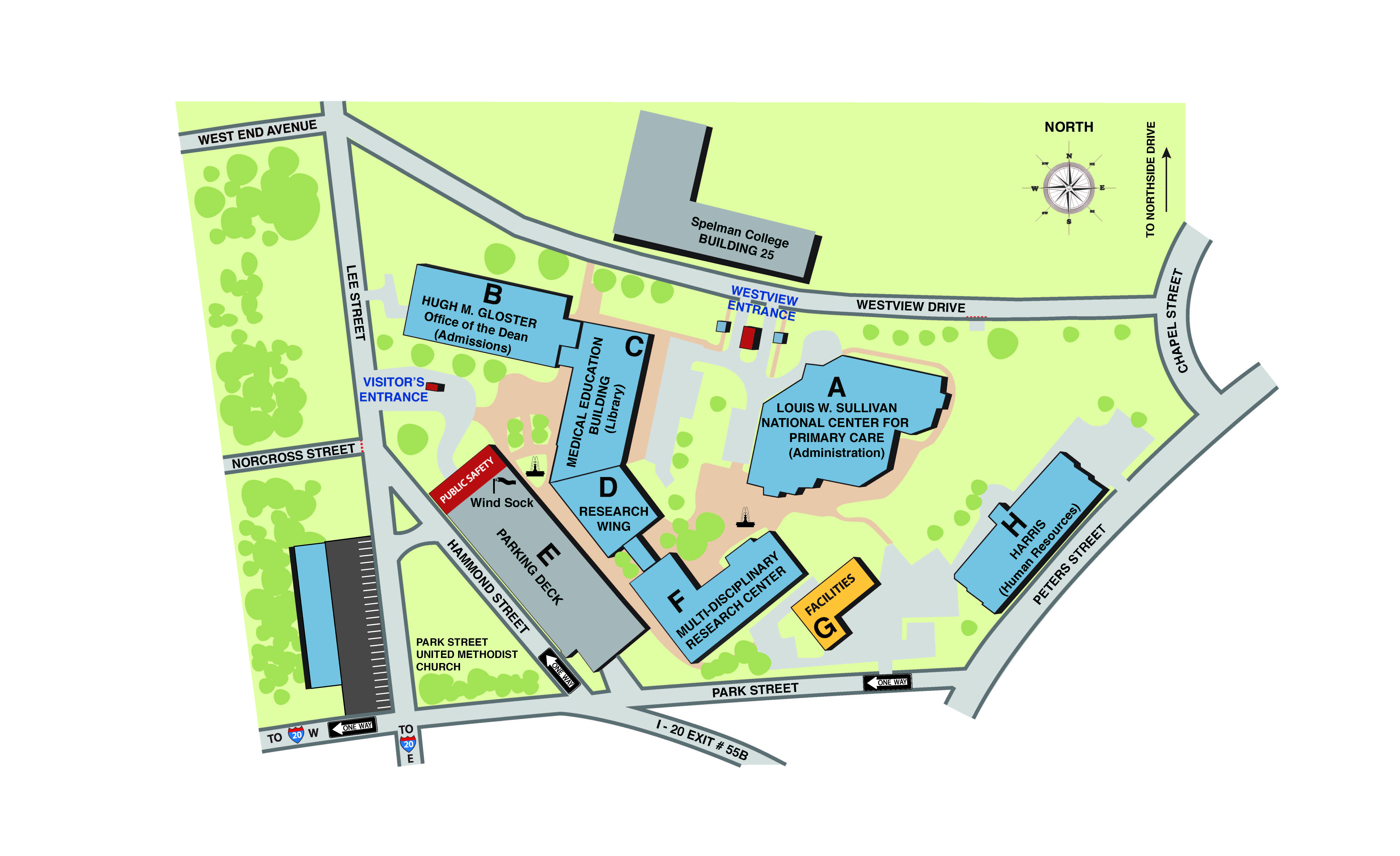 Map of Morehouse School of Medicine