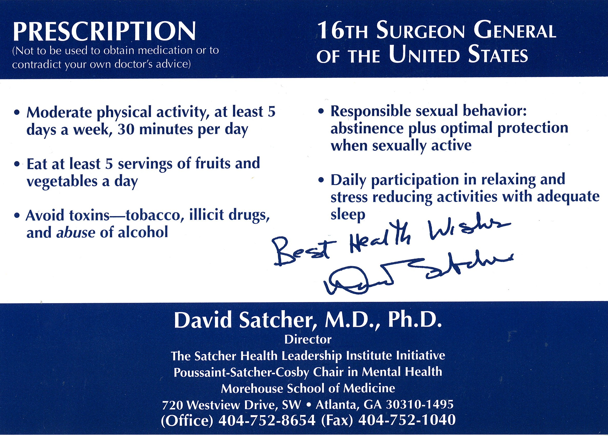 Surgeon General's Prescription