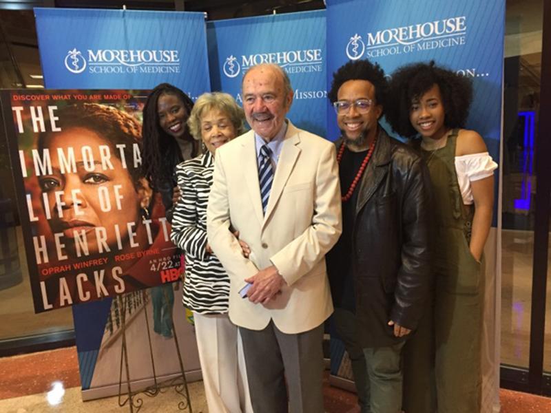 (l. to r.): Yolanda Thomas (daughter in law of Dr. Pattillo); Mrs. Patricia Pattillo, Dr. Roland Pattillo; Speech Thomas (son) and Zoe Thomas (granddaughter) at the film premier at MSM on April 12, 2017.