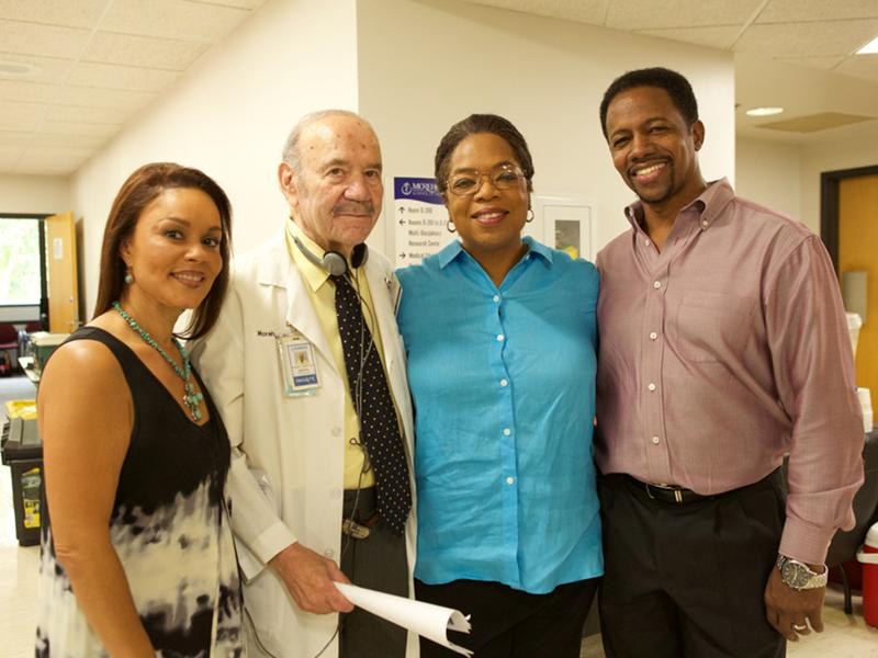 (l. to r.): On location at MSM with Gina Towns Thompson, Director of Events at MSM, Dr. Roland Pattillo, Oprah as Deborah Lacks and Dr. Winston Thompson.