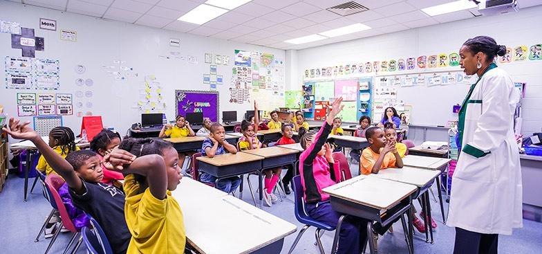 Morehouse School of Medicine works with students at E.L. Connally Elementary School