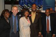(L-R) Sandra Harris-Hooker, Ph.D., Vice President & Executive Vice Dean. Research & Academic Administration, Eric Green, M.D., Ph.D., Director, NHGRI, with Valerie Montgomery Rice, M.D., President and Dean, MSM, Rep. Derrick Jackson (District 64), Mr. Vence Bonham, J.D., Jr., J.D. , Senior Advisor to the NHGRI Director on Genomics and Health Disparities