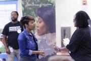 Author, Tanisha Hall, exhibits her book titled, Breath, discussing her journey to cope with grief after becoming a millennial widow