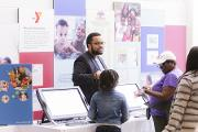 Jarrod Lockhart, M.Ed., Assistant Director, Health Careers Opportunity Program (HCOP) Academy and Pipeline Initiatives, Office for Educational Outreach and Health Careers facilitates S.T.E.A.M. activities with youth