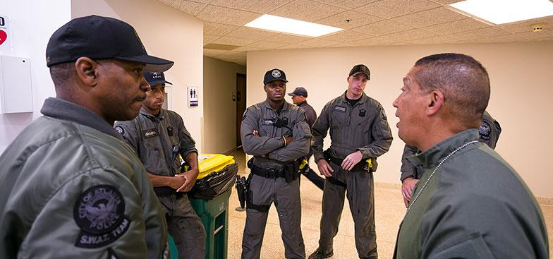 members of the MSM Public Safety department in a discussion