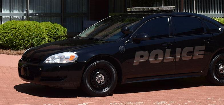 A black police car