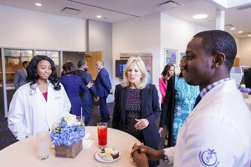 Dr. Jill Biden chats with medical students.