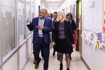James Lillard, Ph.D. guides Dr. Jill Biden on a tour of MSM's campus.