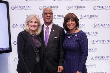 Dr. Jill Biden, MSM Board Member and Georgia State Representative Calvin Smyre, and MSM President and Dean Valerie Montgomery Rice, M.D.