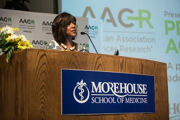 """Valerie Montgomery Rice, MD, FACOG, President and Dean, MSM welcome guest to AACR's """"Progress and Promise"""" public education event."""