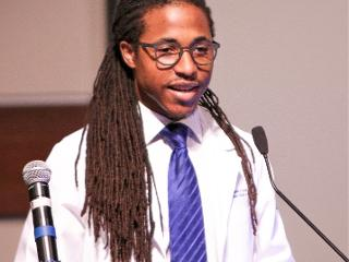 Jamil Joyner addresses the class