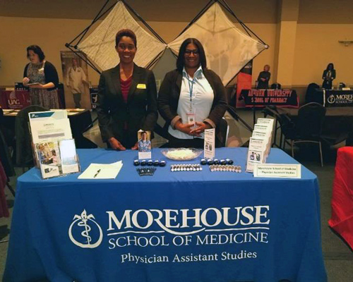 Two women share information about MSM's Physician Assistant Studies