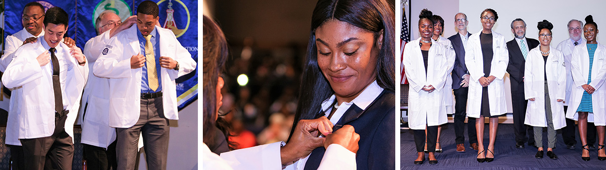 Students getting whitecoats, a woman receiving a pin, and a group of students smiling